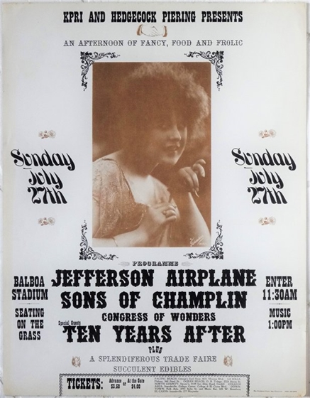 Jefferson Airplane Ten Years After Sons of Champlin San Diego AOR 3.99 Poster