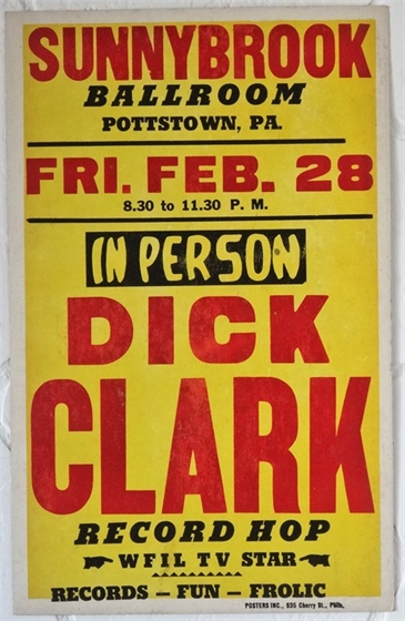 Dick Clark Record Hop Sunnybrook PA 1958 Cardboard Boxing-Style Poster