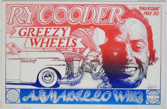 Ry Cooder Greezy Wheels Armadillo WHQ Guy Juke SIGNED 1974 Concert Poster
