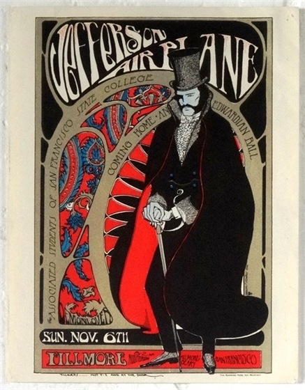 S. Mouse Edwardian Ball Jefferson Airplane AOR 2.81 1966 Fillmore Event Flyer