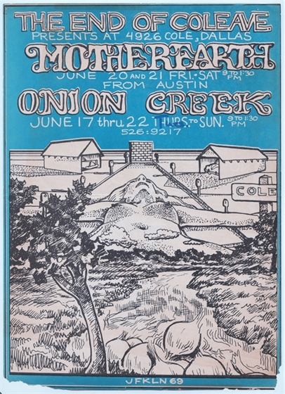 Mother Earth Onion Creek The End of Cole Dallas TX JFKLN 1969 Concert Flyer