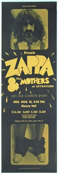 Frank Zappa & the Mothers of Invention Toronto ON 1970 Concert Poster