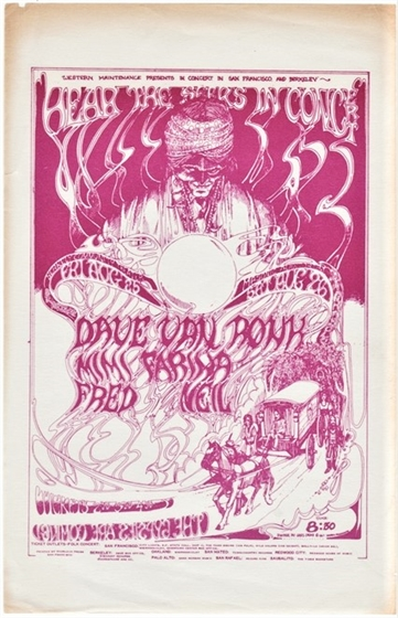 Hear The Seers Mimi Farina Fred Neil Dave Van Ronk AOR 2.262 Greg Irons Handbill