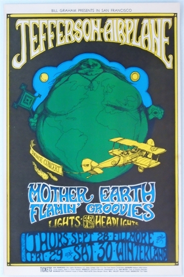 BG 85 Jefferson Airplane Mother Earth Greg Irons 1967 Fillmore Winterland Poster