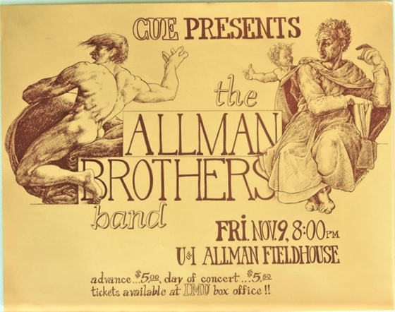 Allman Brothers Band University of Iowa 1973 Concert Poster