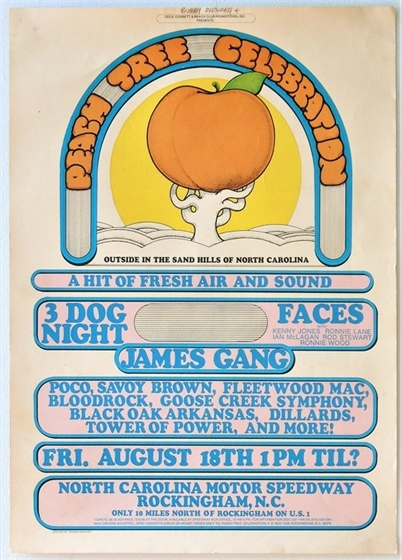 Peach Tree Celebration 1972 NC Event Poster w/Faces, James Gang, Three Dog Night