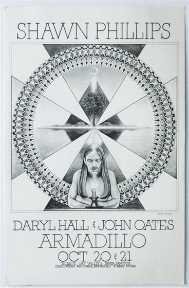 Shawn Phillips Hall & Oates Armadillo WHQ 1975 Concert Poster