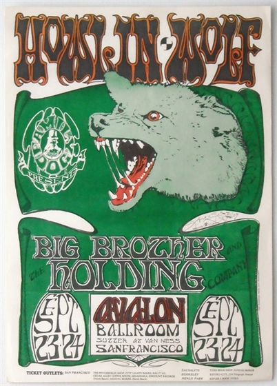 FD 27 Howlin' Wolf Big Brother Mouse SIGNED Avalon Ballroom 1966 Concert Poster