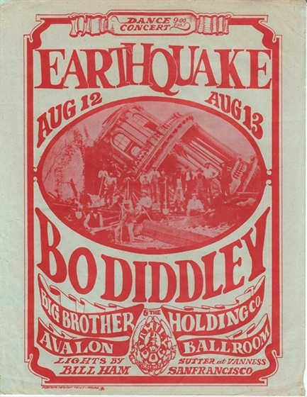 "FD 21 ""Earthquake"" Bo Diddley Big Brother Mouse/Kelley Avalon Ballroom Flyer"